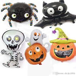 Globe Cartoons Australia - 2018 Halloween Pumpkin Ghost Balloons Halloween Decoration Spider Foil Balloons Inflatable Toys Bat Globes Party Supplies