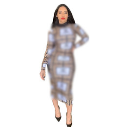 China Women Designer Dress Long Slim Leopard Summer Luxury Dresses Brand Long Sleeve Bodycon Skirt Womens Clothing Plus Size Party Dresses C71707 supplier women s designer skirts suppliers