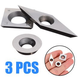 carbide turning tools UK - 3pcs Set Tungsten Carbide Inserts 94.5HRA Cutter Practical Blades for CNC Lathe Turning Tool Wood Working