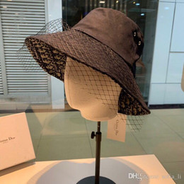 sun blocks Australia - New designer Hat Lady fisherman Hat lace large brim Hat black luxury fashion accessories simple and noble party to block the sun