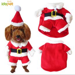Dot Costumes Australia - Christmas Cat Clothes Pet Dog Cat Costume Santa Claus Costume Winter Christmas Pet Coat Apparel Cotton Clothes For Cat Dog