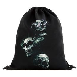 $enCountryForm.capitalKeyWord UK - 39x30cm Funny Harajuku Cute Cloth Drawstring Bags Canvas Kawaii Storage Bags Backpack 3d Print Women Packing Gift Bag Skull
