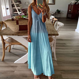 Wholesale pink summer maxi dresses resale online – Women Dress Ladies Beach Summer A Line Boho Fashion Holiday V Neck Cocktail Sleeveless Casual Spaghetti Strap Sexy