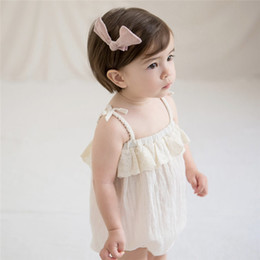 Acrylic Baby Hair Clip Australia - New Candy Toddler Baby Girls Rompers with Hair Clips 2pcs Suits Ruffles Lace Belt Straps Sleeveless Newborn Jumpsuits Bodysuits Onesies 0-2T