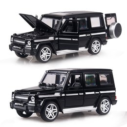 Car Lights Australia - 4 color 1:32 Scale 15CM Alloy Cars G65 SUV car Pull Back Diecast Model Toy with sound light Collection Gift toy Boys Kids