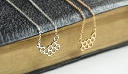$enCountryForm.capitalKeyWord Australia - hollow Honey Comb Bee Hive Necklace Cute Honeycomb Beehive geometric Hexagon pendant charm chain Necklace lover lucky jewelry