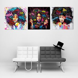 Abstract Modern Figure Australia - Abstract Modern Fashion Figure Wall Art Picture Portrait Canvas Painting Africa Woman Posters and Prints Living Room Home Decor