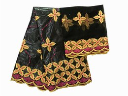 $enCountryForm.capitalKeyWord UK - Pretty black African bazin riche fabric with nice embroidery French net fabric for making dress set IKBN59 many color