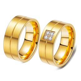 $enCountryForm.capitalKeyWord Canada - New Designer Luxury Gold Plated Titanium Stainless Steel Cubic Zirconia Matching Ring Set Wedding Band Lovers Jewelry for Sale Wholesale