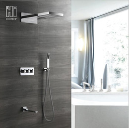 steel walls panels UK - Shower Panel multi function Stainless Steel Showerhead LED Rainfall Waterfall Shower Set Hot Cold Faucet polish bathtub Shower Column