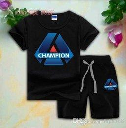 $enCountryForm.capitalKeyWord Australia - CHMP Children Sets 1-7T Kids T-shirt And Short Pants 2Pcs sets Baby Boys Girls 95% Cotton Diamond Design Printing Style Summer Sets