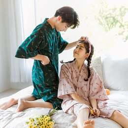 japanese summer clothing UK - Couple pajamas set home clothes set Summer 2020 Japanese men's and women's fresh kimono student two-piece thin home clothes suit