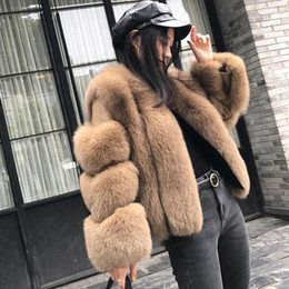 Wholesale real fox jackets resale online - 2019 New Women Thick Warm Real Fur Coat Slim Winter Genuine Fur Jacket Fashion Outerwear Natural Women s Clothes E05