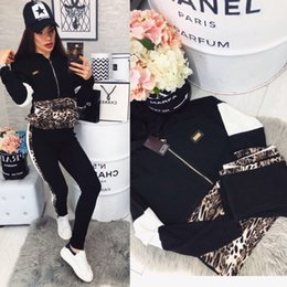 Leopard Print Motorcycle NZ - Womens clothing Sexy leopard print outfits 2 piece set fashion tracksuit hoodie legging outfits sweatshirt tights sport suit klw0580