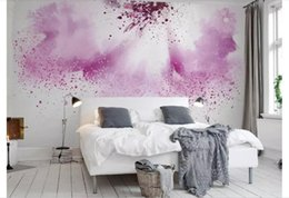 pink flower bedroom wallpaper NZ - Custom 3D Silk Photo Mural Wallpaper Pink purple creative watercolor abstract painted flowers bedroom TV background wall Papel de parede