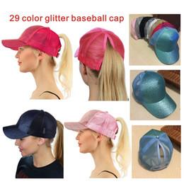 Trucking bag online shopping - Hot Color Shiny Horse Tail Breathable Baseball Cap Men Women Bags Summer Truck Gorras Shiny Gold Shiny Lady Hat