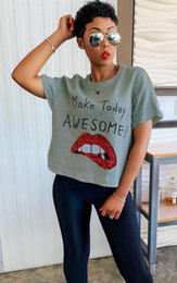 red lips clothing 2019 - Womens Designer Tshirts Red Lips Printed O-neck Tops Short Sleeved Tees Women Sexy Sequins Fashion Clothes cheap red lip