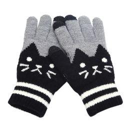 $enCountryForm.capitalKeyWord NZ - MUQGEW NEW Arrival Womens Men Winter Click Screen Fingers Screen Glove Cut Cat Knit Warm Fleece Glove winter gloves women lavas