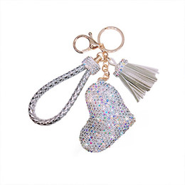 dolls for love UK - Creative Love Keychains Couple Bag Keyring Tassel Pendant Doll Leather Keychain For Women Fashion Jewelry Crystal Heart Keychain 20190122