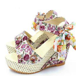 e19af225 Venta caliente-Sandalias Slik Bow Diapositivas Plataformas Cuñas 2018  Zapatos de verano Mujer Chanclas Punta Abierta Tacones Altos Sandalias Mujer  Zapatos