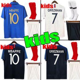 b2a68d375 kids kit 2018 GRIEZMANN MBAPPE 2 stars Soccer Jersey POGBA DEMBELE MATUIDI  Football shirts kids women kit maillot de foot 100th anniversary