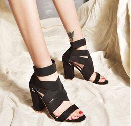 $enCountryForm.capitalKeyWord Australia - Spring Women Pumps Black Suede Fabric Cross Strap Back Zipper Open Toe High Thick Heel Ladies Banquet Prom Sandals