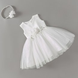 Year Baby Dressing Style Australia - Baby Dresses For Girls With Headband 2 Years Birthday Baby Girl Christening Dress With Bow White Wedding Dress Baby Clothing Y19050801