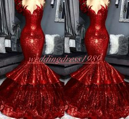 robes pageant NZ - Sparkling Sequined Prom Dresses Mermaid African Sweetheart Tiers Sleeveless Pageant Robe De Soiree Evening Gowns Celebrity Special Occasion