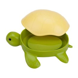 kid soaps NZ - Funny Turtle Soap Dishes Soap Drainer Container Dispenser Box Holder with Lid for Kitchen Bathroom Storage Organizer Kids Gift ZJ0824