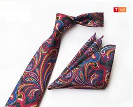 2dd4bb18cbbf 2019 High Quality Mens Tie Set for Men Blue Paisley Tie and Pocket Square  Necktie Man Corbatas Hombre Handkerchief Wedding Tie