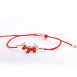 Discount korean charm bracelets Korean East Gate Dog Red Rope Lucky Bracelet Adjustable Charm Couple Love Bracelets for Women Jewelry