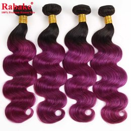 Discount peruvian body wave dyed hair - T1B Purple Ombre Body Wave Human Hair Extensions 8A Wholesale Brazilian Body Wave Human Hair Weave Bundles Peruvian Mlay