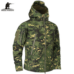 Wholesale military green white clothing online – design Mege Brand Autumn Men s Military Fleece Jacket Army Tactical Clothing Multicam Male Camouflage Windbreakers C19041303
