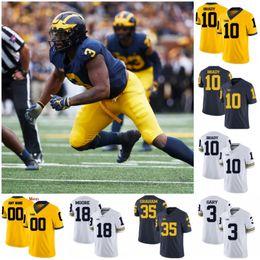 Benutzerdefinierte Michigan Wolverines 2019 Fußball beliebiger Name Nummer Trikot weiß dunkelblau gelb Winovich Brady Patterson Collins Hudson NCAA 150 im Angebot