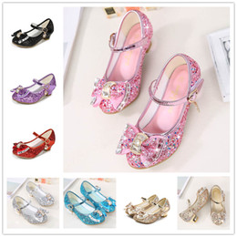 Dancing shoes for kiDs online shopping - Girls sequins high heels cm princess crystal shoes colors T Kids star moon decoration Big bow dancing shoes for party performance