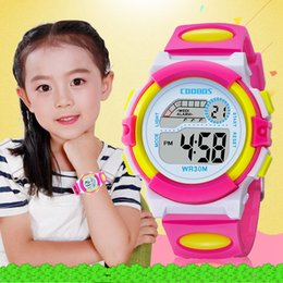 hot fashion Colorful girls boys Kids sport led digital watch Multi-function children gift birthday party wrist watches on Sale