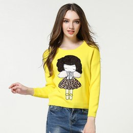 lovely korean cartoon girl NZ - Pop2019 Product Girl Korean Cartoon Patch Sweater Easy Lovely Knitting Unlined Upper Garment