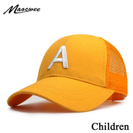 baby boy ball caps Australia - Cute children baseball caps baby girls sun visor hats boys snapback casquette gorras Letter A embroidery kids summer mesh