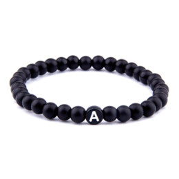Lucky Beads Australia - Matte Natural Stone DIY 26 Bead Letters Bracelets for Women Men Fashion Jewelry Name Friendship Lucky Bracelet Kids Family Gift