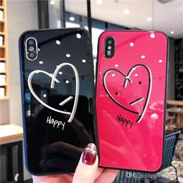 Iphone Glasses Red Australia - Red black love empered glass case cover for iphone Xs max X XR 7 7plus 8 8plus 6 6plus