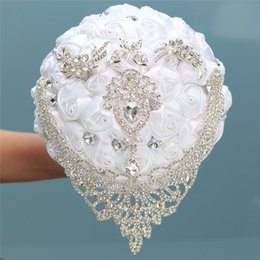 white hanging decoration Canada - 8 styles new white wedding bride holding flowers artificial bouquet ribbon rhinestone pearl bouquet decoration bride groom dance CJ191223