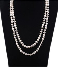 """$enCountryForm.capitalKeyWord Australia - Natural Long Pearl Necklace Double Row White Round Real Freshwater Pearl Necklace Indian Jewelry 47""""(7.5 mm)"""