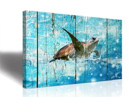 Art Canvas Prints Australia - Baby The room Weathering of wood Sea Turtle Wall Decor Ocean Theme Wall Art Prints on Canvas for Bathroom DecoOcean watercolor green and blu