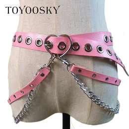 chain hip belts NZ - Women Gothic Punk Heart Shape Belt For Women Street Fashion Rock Hip-hop With Two Chain Waist Belts Ins Second Cowskin Toyoosky Y19070503