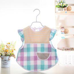 $enCountryForm.capitalKeyWord Australia - Baby Bibs Infant Burp Cloths Toddler Scarf Feeding Smock Long Sleeve Waterproof Coverall Animal Stripe Baby Feeding Accessories