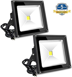 daylight flood lights NZ - 50W Outdoor Flood Light 6000lm Super Bright Security Lamps with Plug 5000K Daylight White IP65 LED Floodlight for Yard Garden Playground
