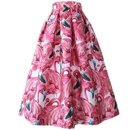 $enCountryForm.capitalKeyWord UK - Women Midi a-line Skirts Vintage pink Printed Summer Skirts Ball Gown High Waist Swing
