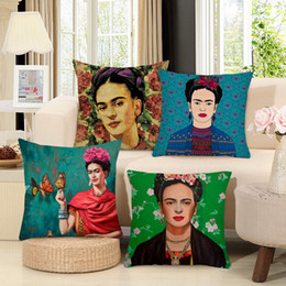 Sale Office Chairs Australia - Urijk Hot Sale Self-portrait Cushion Cover Firm Flower Butterfly Oil Painting Image Linen Cotton Office Rock Chair 45x45cm Pillow Case