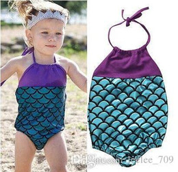 baby swim wear wholesale Australia - Summer Baby Girls Mermaid Swimwear One-piece Swimsuits Bandage Swimsuit Bathing Suit Beach Wear Princess Swimming Wear