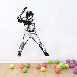 Media Player Australia - Removable Baseball Player Vinyl Wall Sticker Sports Wall Poster Home Decor Sports Kids Room Baseball Decal Home Art Mural
